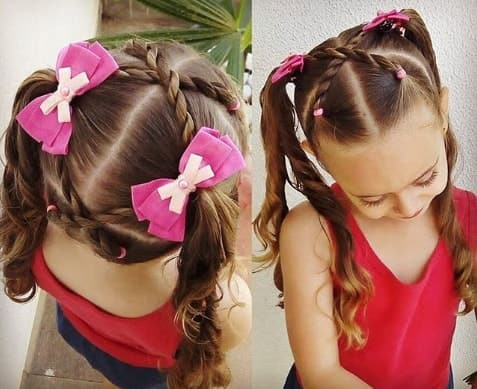 Cross Braided Hairstyle With Pigtails