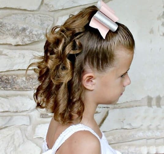 Combed Back Hairstyle With Curled Back