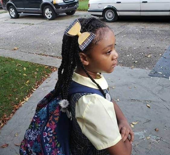 Long Braided Hairstyle - Little Black Girl Hairstyle for School