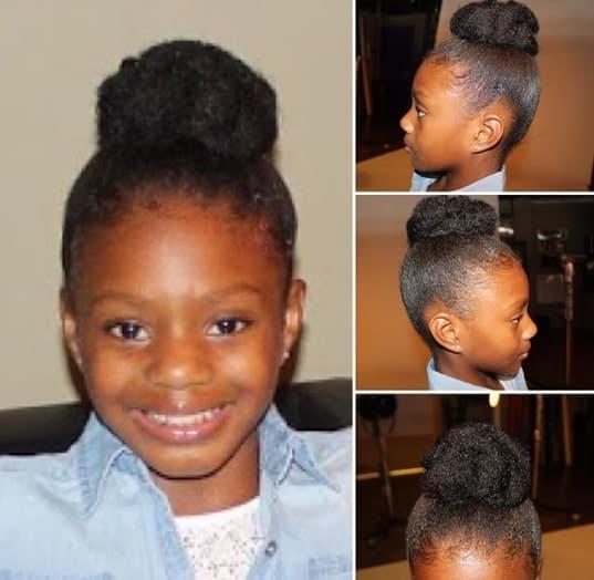 Thick Kinky Hair Bun for Black Little Girl