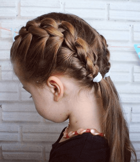 Center Parted Hairstyle With Braided Sides And Pigtails