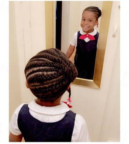 Angled Cornrows With Side Bun And Short Pony
