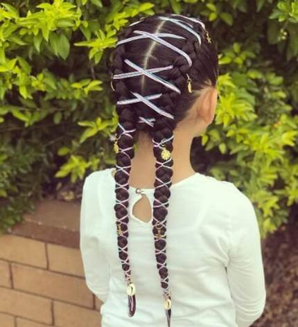 Center Parted Hairstyle With Thick Braided Pigtails