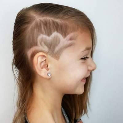 Side Parted Hairstyle With Heart Shaped Design On The Side