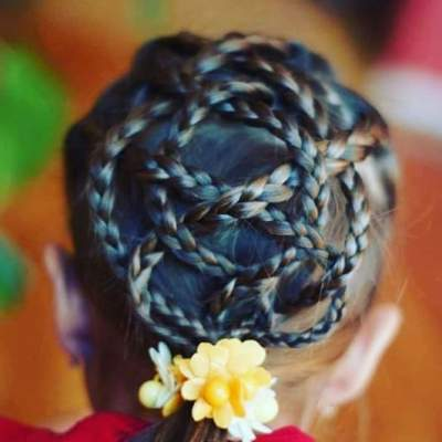 Braided Flower Back With Ponytail