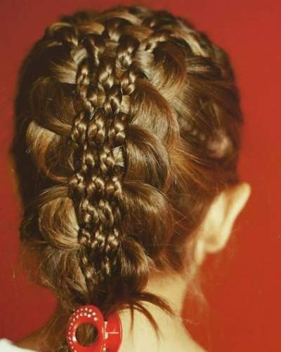 Combed Back Hairstyle With Knitted Braid