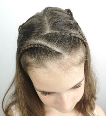 5. Center Parted Hairstyle With Fine Braids And Pigtails