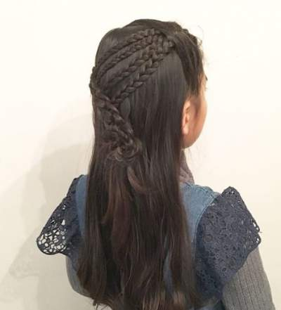 Side Parted Hairstyle With Angled Braids At The Back