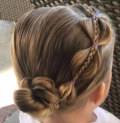 Pearl Braided Hairstyle With Flower Bun