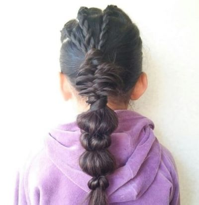 21. Braided Hairstyle With Sectioned Ponytail