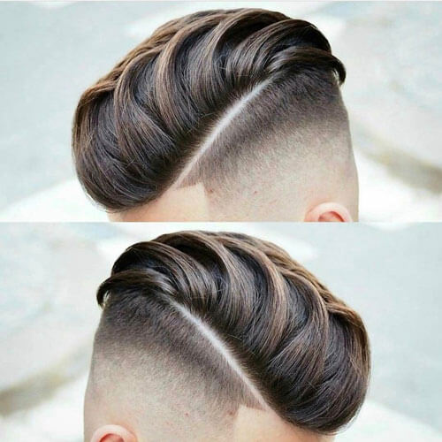 Layered Side Swept Top With Fade Undercut