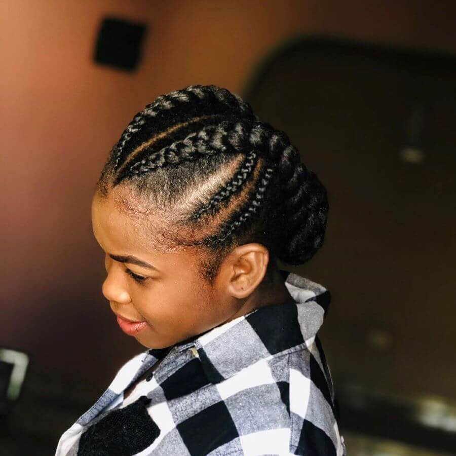 Center Parted Hairstyle With Thick Angular Braids