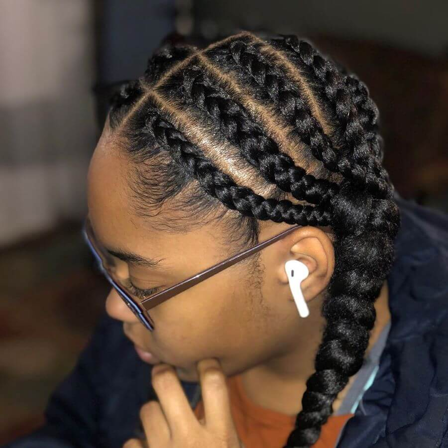 Horizontal Braids With Kinky Braided Pigtails