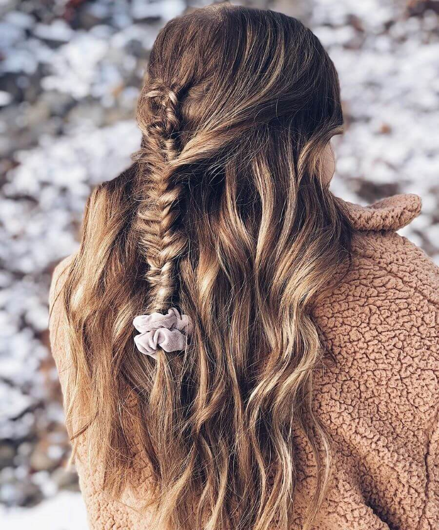 Messy Long Waves With Thin Fishtail Braid