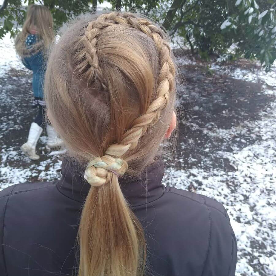 Swirling Braid With Low Ponytail