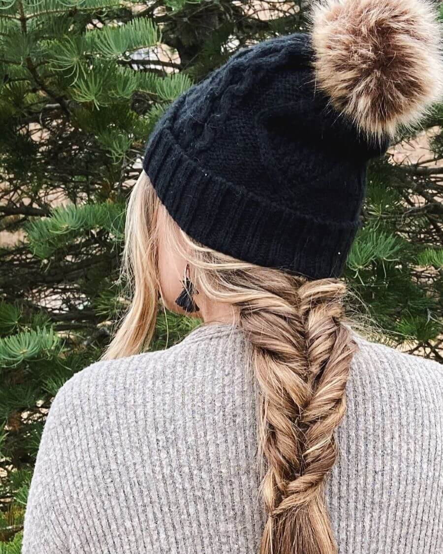 Thick Fishtail Braid With Side Bangs