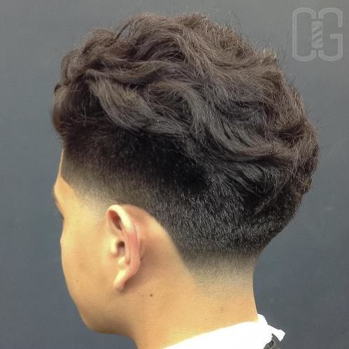 Thick Wavy Top With Mid Fade