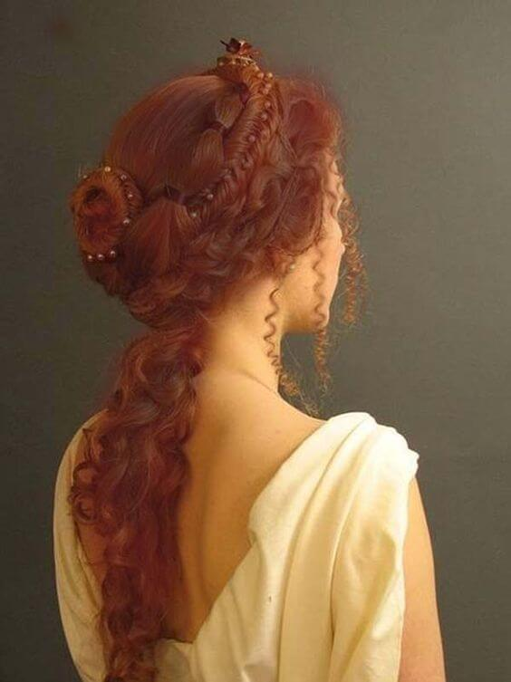 Curly Hairstyle With Braided Design
