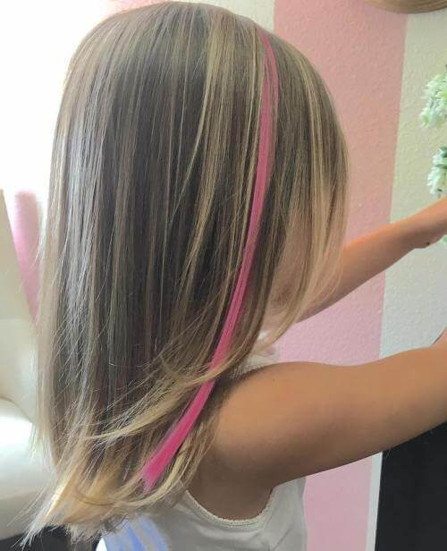 Layered Hair Style With Pink Strip