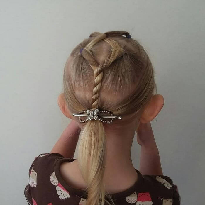Pulled Back Hairstyle With Twisted Hair Design