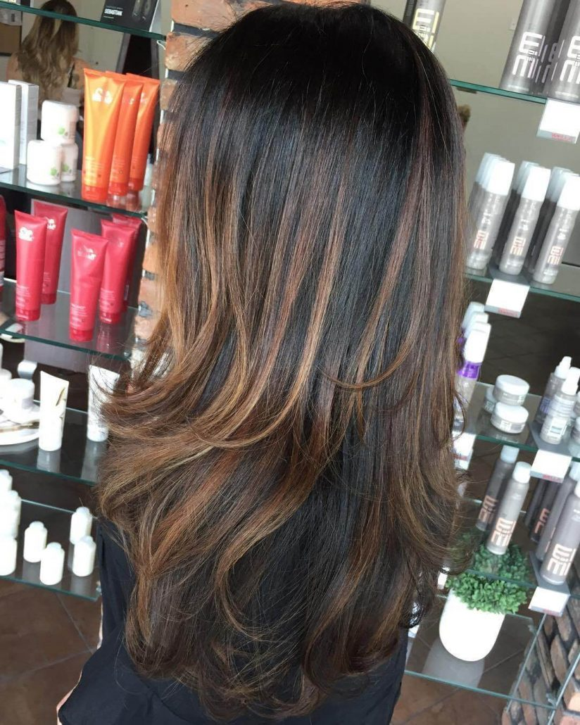 Textured Long Layers With Low Balayage
