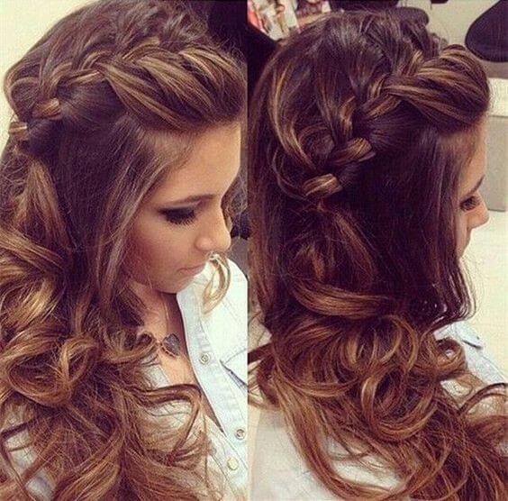 Loose Voluminous Curls With Side Braid