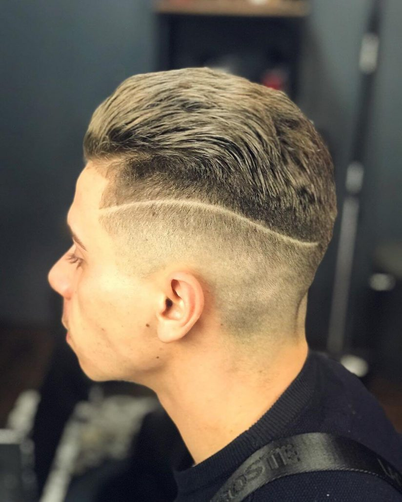 Combed Back Pompadour With Surgical Design