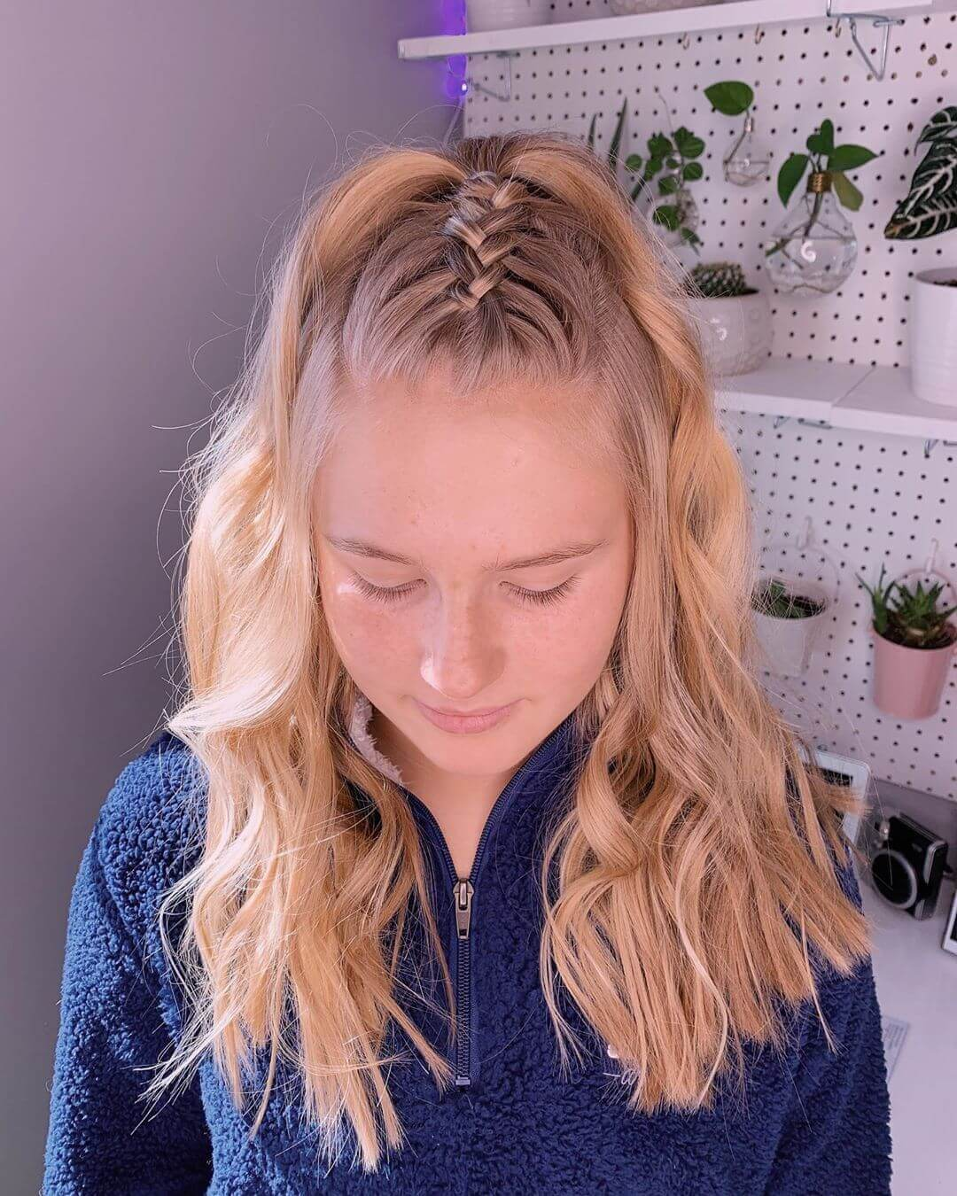 Braided Top With Wispy Curls