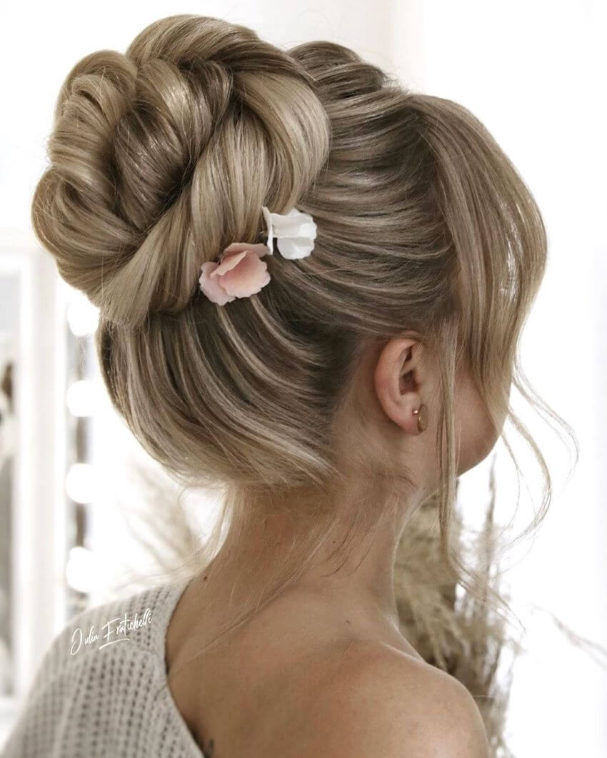 Chignon With Side Swept Bangs