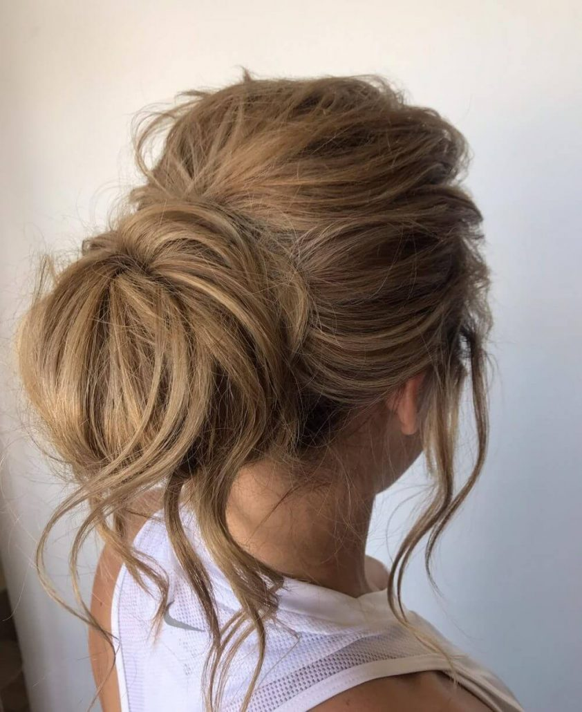Messy Combed Back With Big Bun