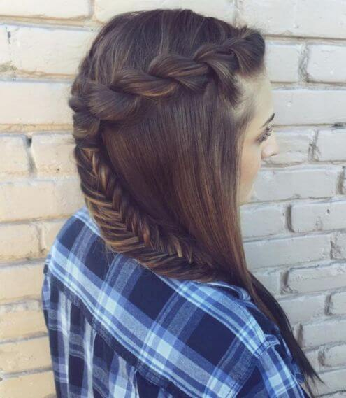 Plait Half Up Hairstyle With Braided Tail