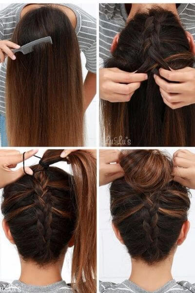 Reverse Braided Hair Bun
