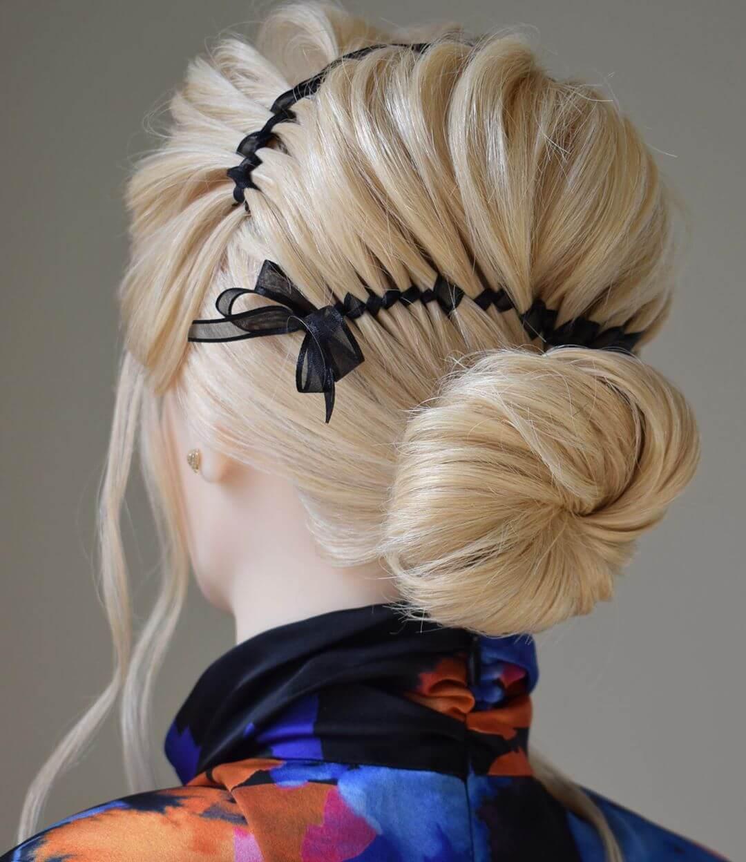 Stylish Updo With Black Ribbon