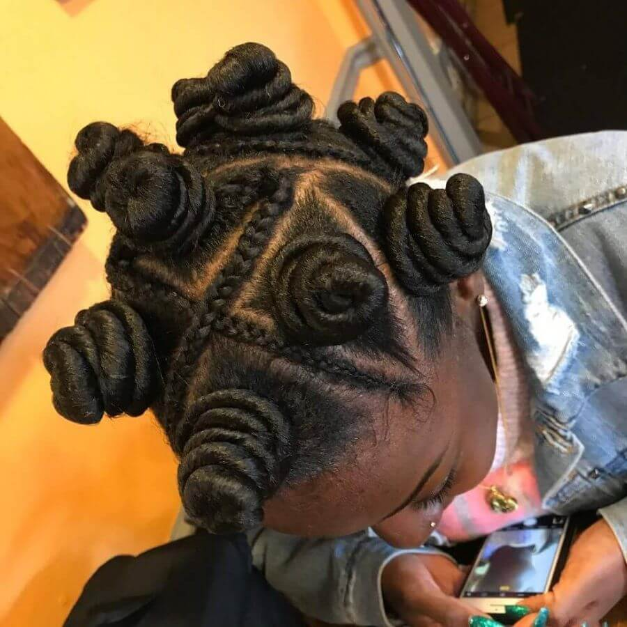 Twisted Buns With Braids