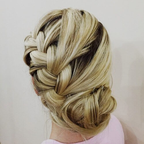 Updo With Diagonal Braid And Bun