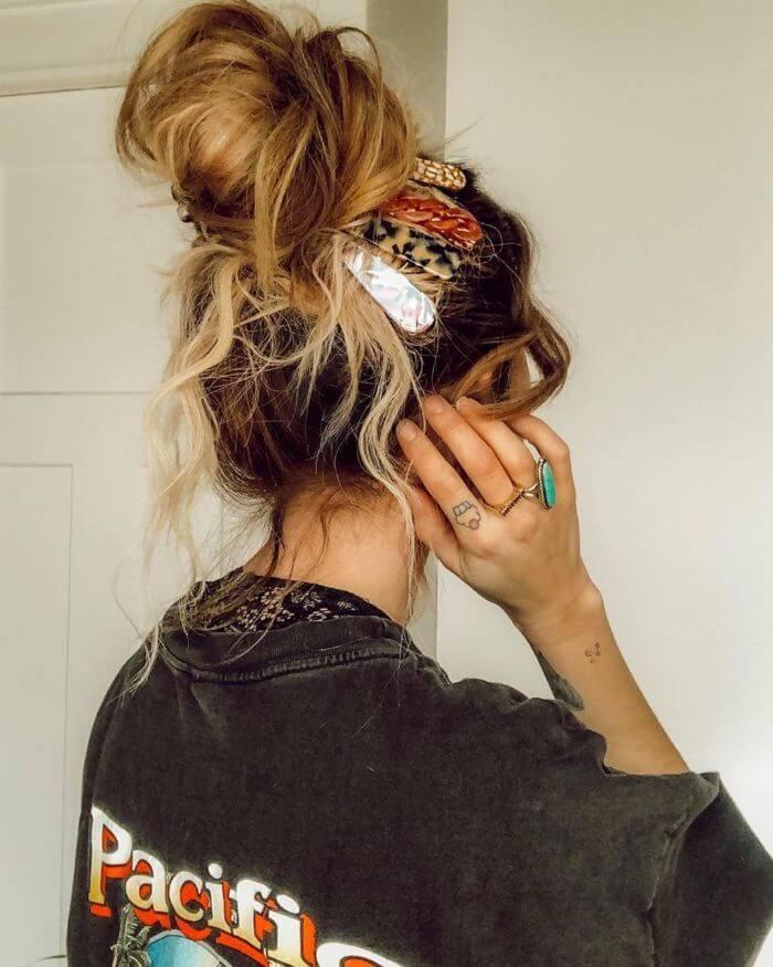 Messy Hair Bun For Medium Length Hair