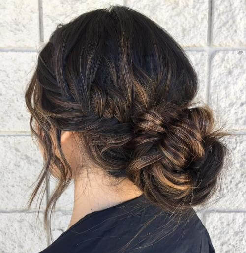Side Braided Bun With Highlights