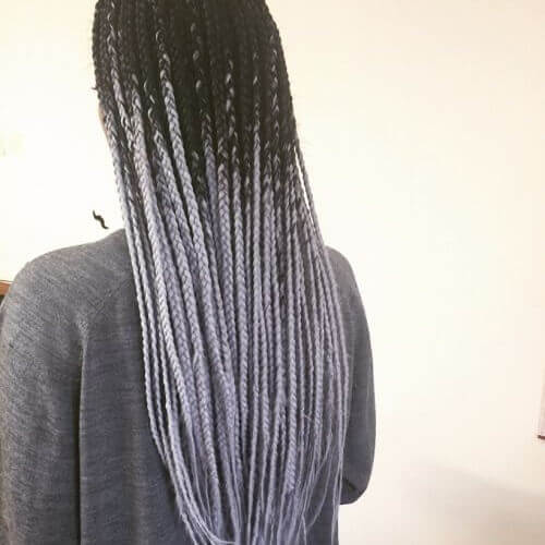 Silver Ombre Braids With Black Roots
