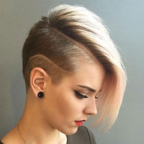Asymmetrical Pixie Haircut With Shaved Lines