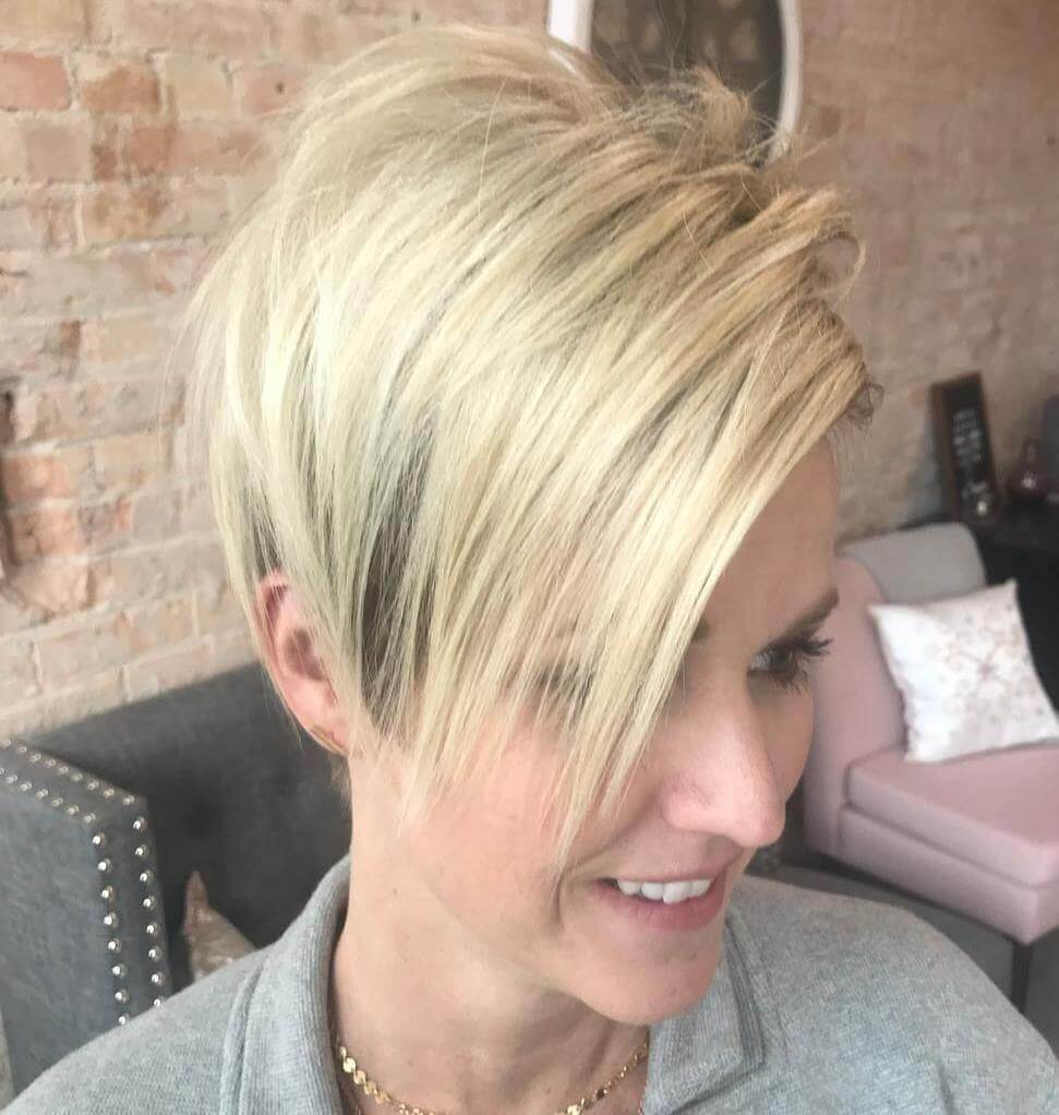 Blonde Chopped Pixie With Longer Bangs