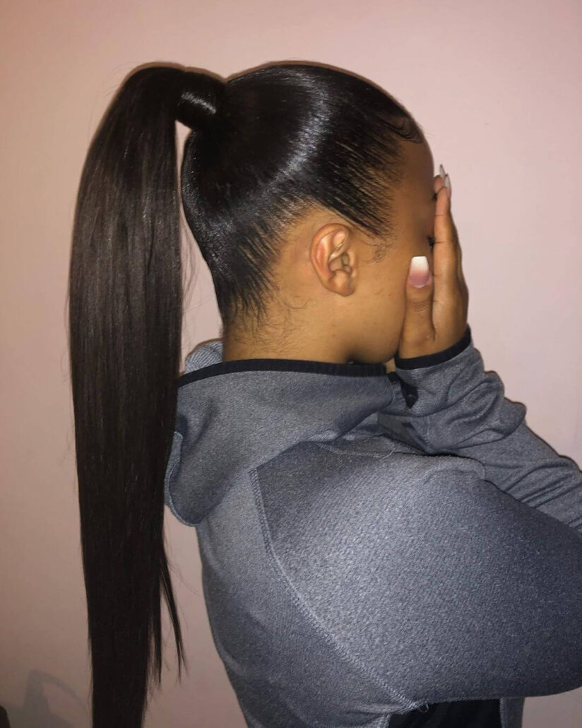 Combed Back With High Ponytail
