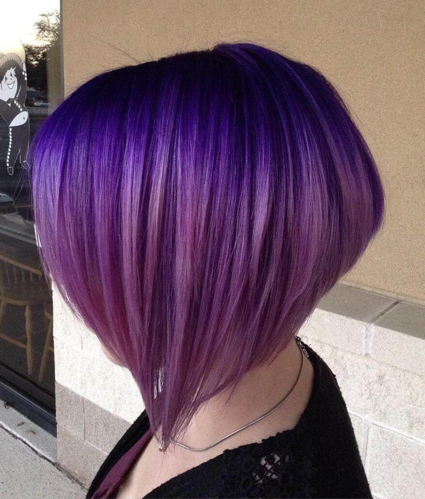 Angular Bob Haircut With Purple Highlights