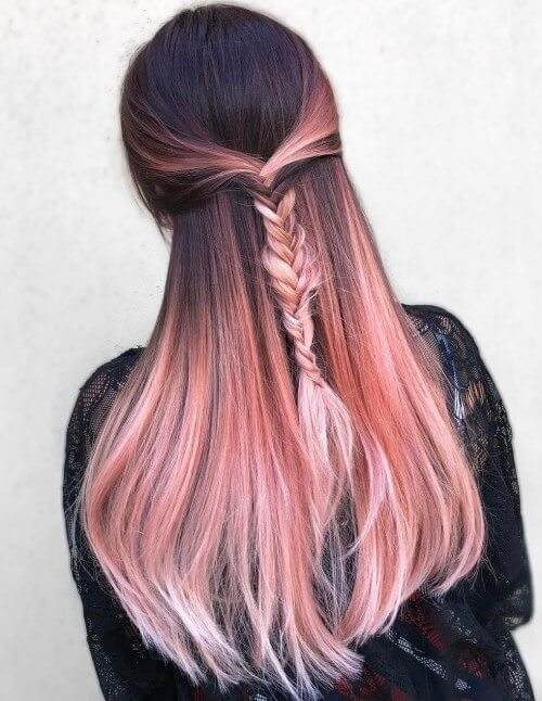 Braided Rose Gold Hairstyle On Brunettes