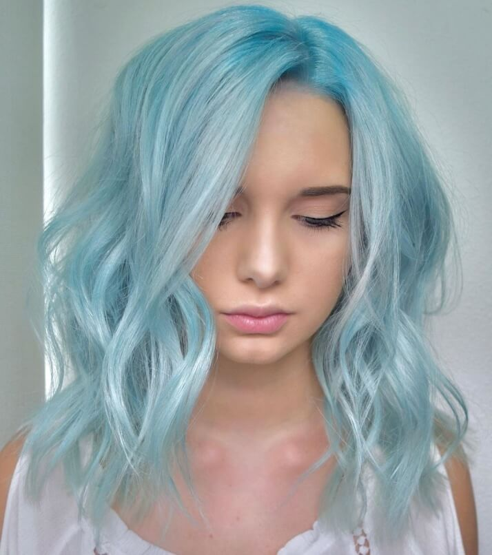 Casual Hairstyle For Platinum Blue Hair