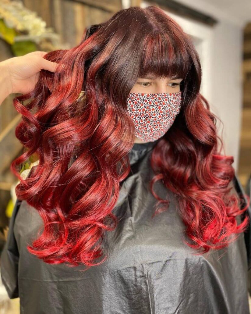 Center Parted Red Hair With Bangs