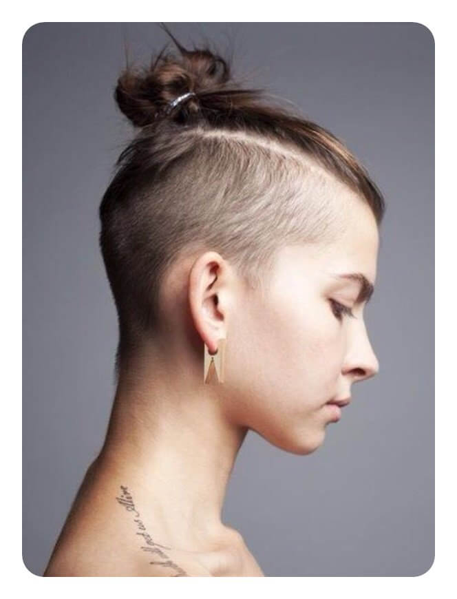 Combed Back Top Knot With Undercut