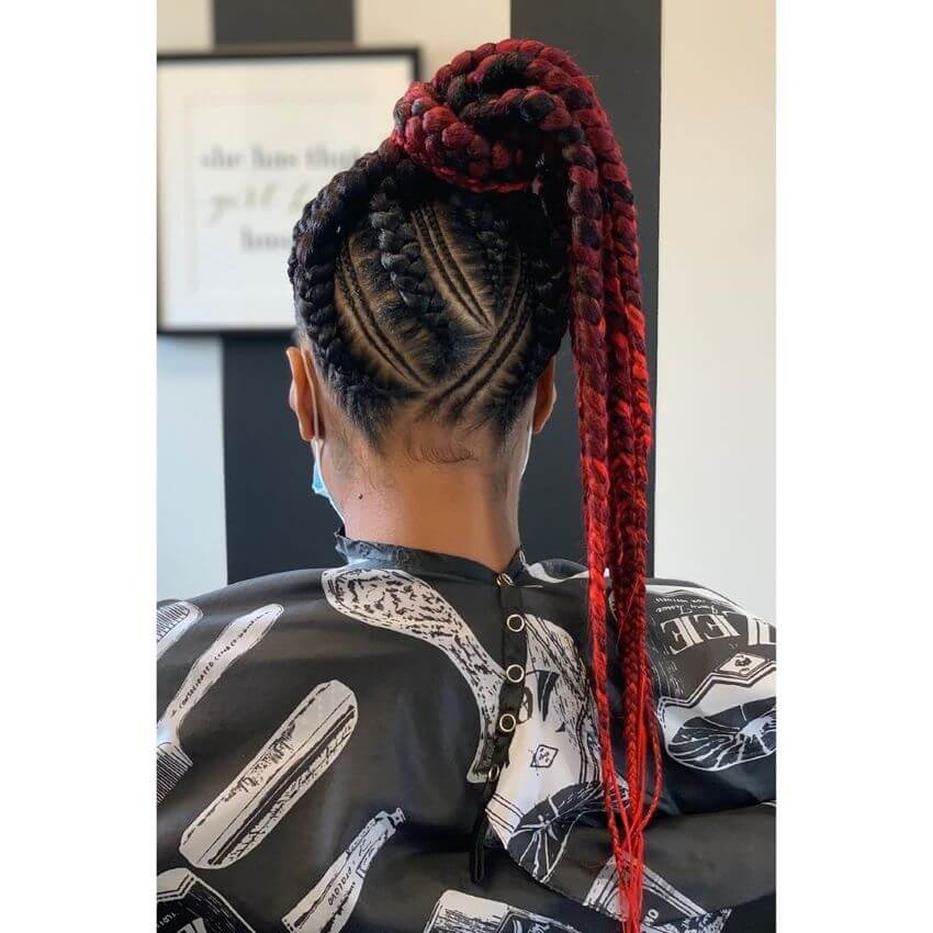 Dreadlocks With Red High Ponytail