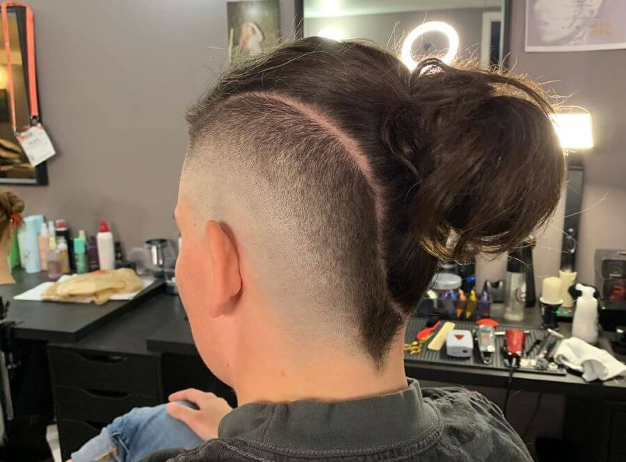 Faux Hawk Fade With Length On Top