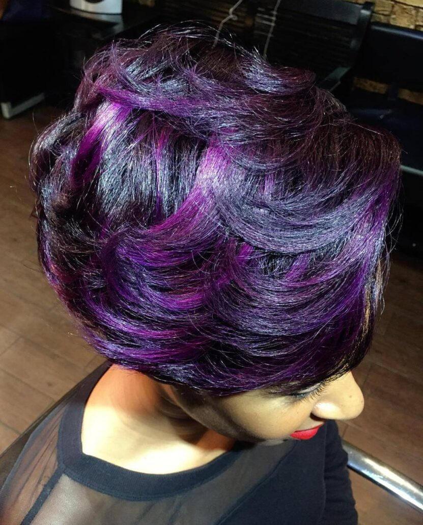 Jet Black Bob With Purple Flashes