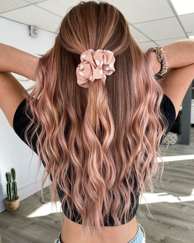 Long Combed Back Hairstyle With Waves And Accessory